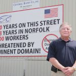 IJ client Bob Wilson is blocked by the city of Norfolk, Va., from displaying a banner protesting eminent domain abuse outside his business, Central Radio Company. Founded by his father in 1934, Central Radio has been building and repairing ship-based radio equipment in Norfolk ever since its opening.